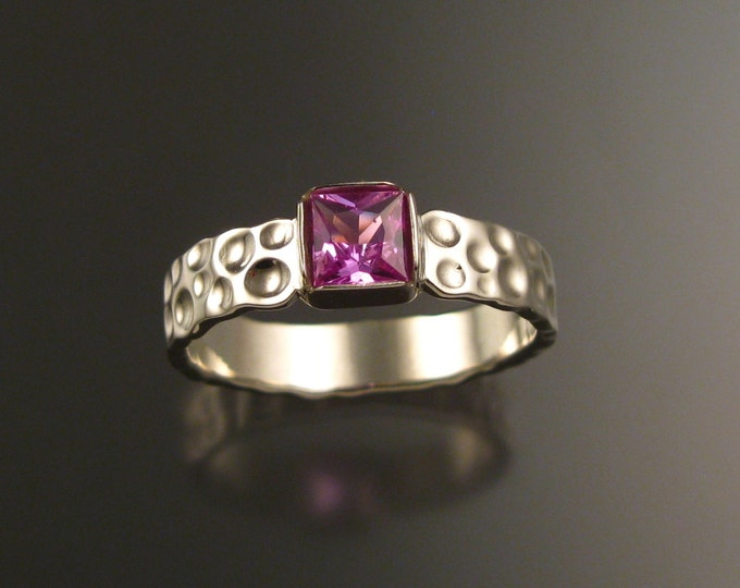 Pink Sapphire square Moonscape ring 14k white gold pink Diamond substitute ring handcrafted in your size