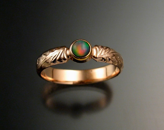 Opal victorian wedding ring Natural Ethiopian Opal ring made to order in your size set in 14k rose gold