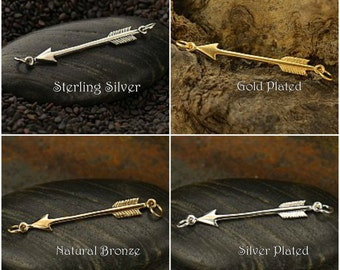 Arrow Festoon Link - Choose From Sterling Silver, Natural Bronze, Silver Plated & Gold Plated - C1184, Archery, Cupid
