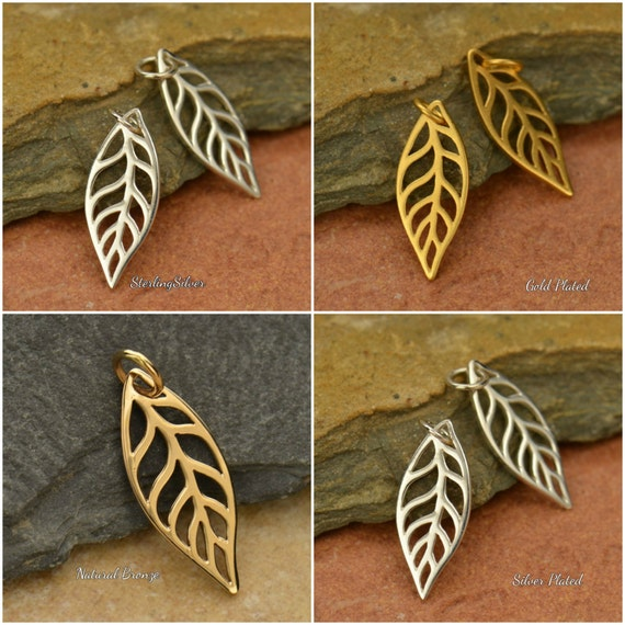 Leaf Charms - Trees, Woodlands, Dangles, CV815, Choose From Sterling Silver, Silver Plated, Natural Bronze & Gold Plated