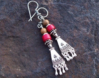 Bali Dangle earrings, Silver earrings, Gypsy Earrings, Boho Bohemian Beaded Earrings