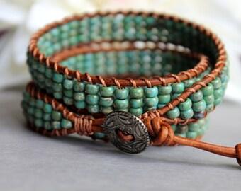 Triple Wrap Bracelet, Leather Wrap Bracelet, Turquoise Picasso Glass Beads, Leather Jewelry, Boho Jewelry, Bohemian, Country, FREE Shipping
