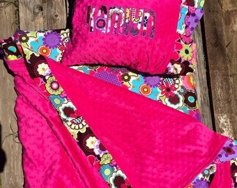 Nap Mat cover with attached Ruffled Minky Blanket & Ruffle Applique Pillow Case for the Kindermat
