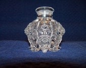 Antique Clear Cut-Glass Pedestel Inkwell