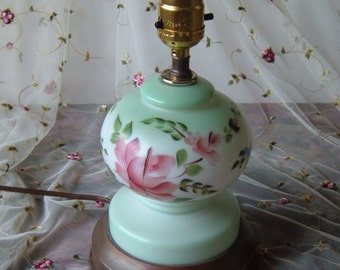 REDUCED Cute Dear Green or Teal Glass Lamp, Brass Base with Flowers Painted On, 10 Inches Tall
