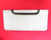 Vintage Handbag 60s White Straw Convertible Clutch or Shoulder Bag - on sale