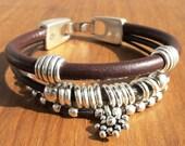 women leather bracelet, genuine brown leather bracelet, leather jewelry trend