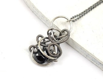 Wire wrapped jewelry, black spinel small pendant, sterling silver jewelry, birthstone necklace