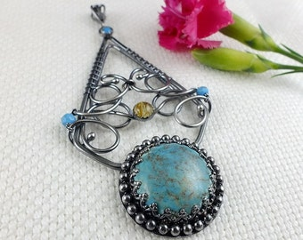 Turquoise pendant, wire wrap jewelry, statement bold jewelry, gemstone fine pendant, sterling silver metalwork jewelry