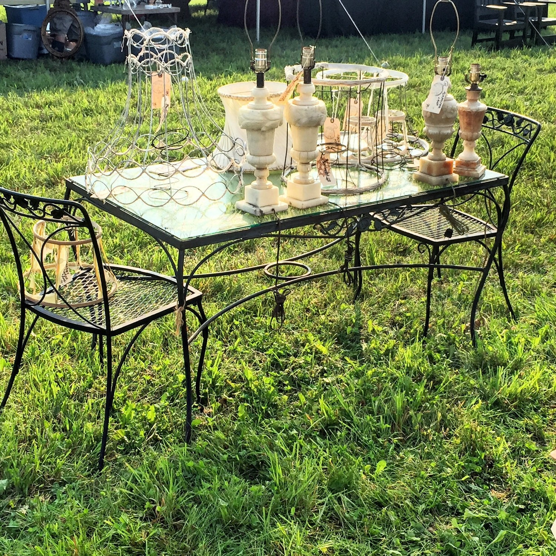Patio Set Woodard Chantilly Rose Garden Table By