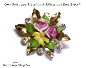 Retro Coro Porcelain Rose Flower Brooch with Pave Set Chaton Cut Crystals in Gold Figural Motif - Vintage 40's Designer Costume Jewelry