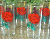 Fabulous Vintage Red ROSE Decal Drinking Glasses!! Set of Six - Vibrant Color