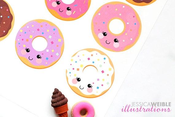Kawaii Donuts Cute Digital Clipart Donut Clipart Donut