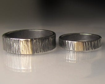 Sterling Silver and 14k Gold Hammered Wedding Band Set