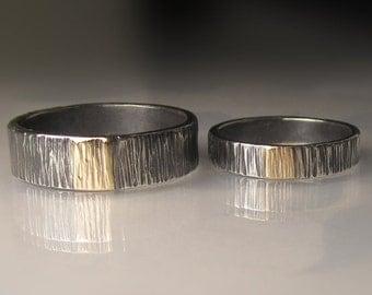 Sterling Silver and 14k Gold Hammered Wedding Band Set