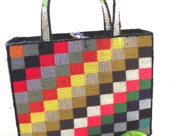 Sale 50% Off, Colorful Vintage Tote, Geometric Plastic Canvas Bag (DB1)