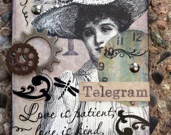 Forlorn Telegram  Handmade Original  Victorian Themed Aceo