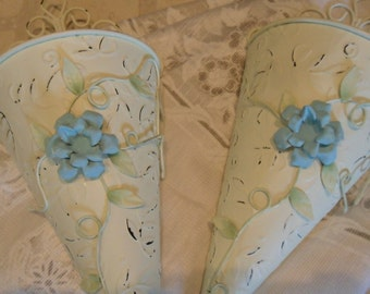 Vintage Metal Wall Sconces Pair Shabby Chic/ Country