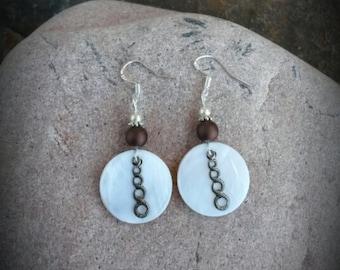 Cream Shell Earrings, Cream Shell Brown Sterling Silver Earrings, Shell Sterling Earrings, Brown Shell Silver Earrings