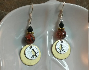 Red Black Gold and Silver Bird Sterling Silver Earrings, Red Bird Sterling Silver Dangle Earrings, Black Bird Earrings