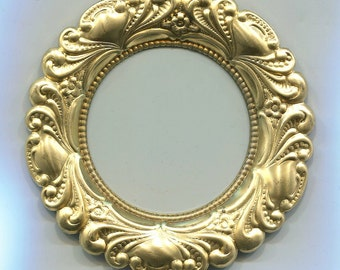 Round Frame with Raised Border Brass Metal Stamping