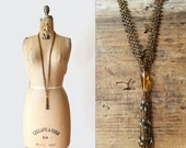 1920s necklace - flapper necklace - 20s Art Deco sautoir necklace - beaded - amber glass micro bead tassel necklace - roaring 20s - gatsby
