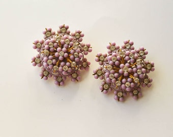 SALE 1960s Pink Earrings Vintage Pink Jewelry Rhinestones and Beads