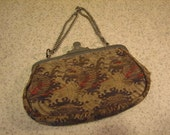 Antique DEP. H&B 1910's Silk Tapesry Evening Purse