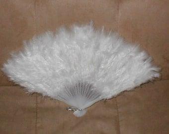 Vintage White Feather Folding Fan
