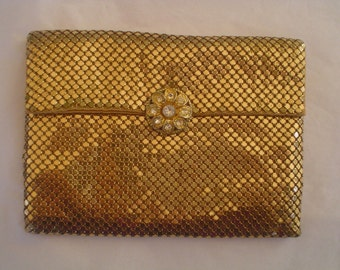 Vintage Whiting and Davis Gold Metal Mesh Clutch with Rhinestone Clasp