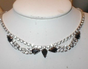 Vintage jet & clear Rhinestone Choker Necklace