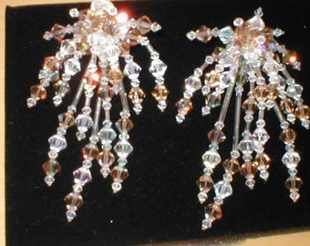 Vintage Huge Crystal Cascade Earrings