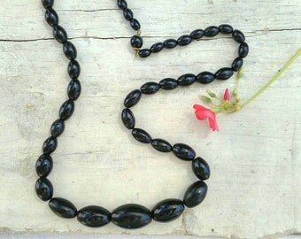 Vintage glass black beaded necklace classic