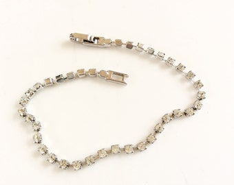 Rhinestones bracelet tennis bracelet bridal jewelry silver tone prong set stones vintage jewelry