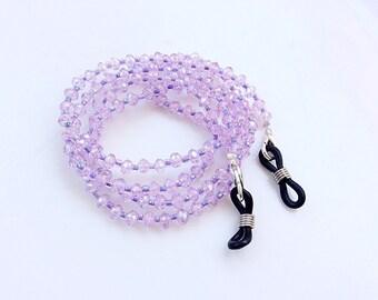 Eyeglasses holder chain light purple crystals beads beautiful eyeglasses neck chain N15