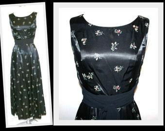 1980s Newfield & Kaplan/Floral Print/Black Satin/Sleeveless Vintage Long Dress
