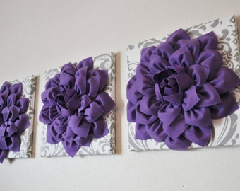 Lavender Flower On White With Grey Damask 3D Flower Wall Canvas Artwork Set  Of 3 Canvases Part 75