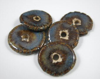 OOAK Ceramic Beads Set of 5 Round Flat Rustic Spacers Porcelain in Variegated Blue and Brown, Handmade Artisan Pottery by Licia Lucas Pfadt