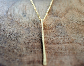 Vertical Bar Necklace Gold