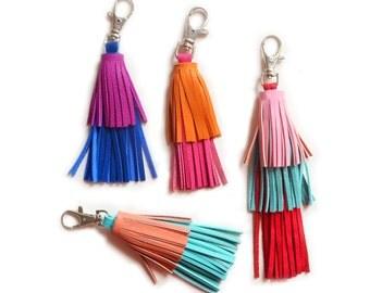 Colorful Leather Tassel Key Chain, Cobalt Blue and Fuchsia Tassel Fringe, Layered Key Chain, Purse Bag Charm, Leather Key Fob