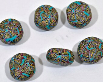 Polymer Clay Pebble Shaped Beads in Multi-Colors