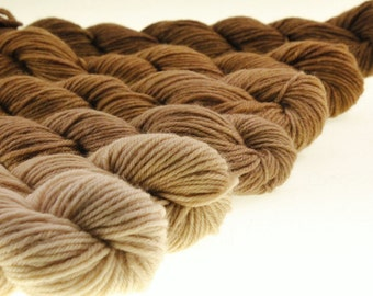 Mini Skein Ombre Gradient Dyed DK or Fingering - A Latte to Espresso - 600 yards