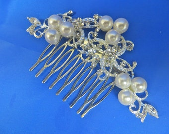Rhinestone Pearl Comb,  Crystal  Pearl Headpiece, Wedding Pearl Comb