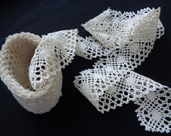 """3.75 Yards of 1.75"""" wide beautiful ivory cotton Victorian crochet style picot lace edging for linens sewing crafts S124"""
