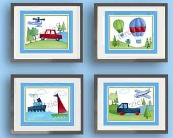 Transportation art, cars trucks nursery art prints, children nursery decor, kids art, children art prints, baby boy nursery decor