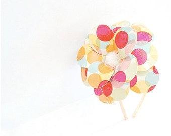 Color Bubble Daisy Paper Mache Headband