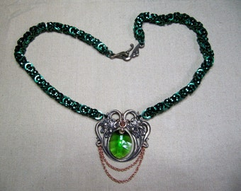 Green Chainmaille Necklace with Crystal Pendant