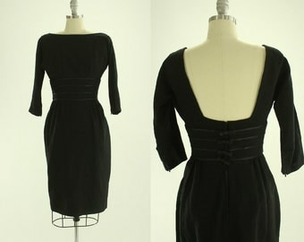 1950's Black Cocktail Dress S M Mr. Mort