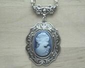 Cameo Necklace Cameo Jewelry Cameo Pendant Victorian Cameo Blue Cameo Gift for Mom