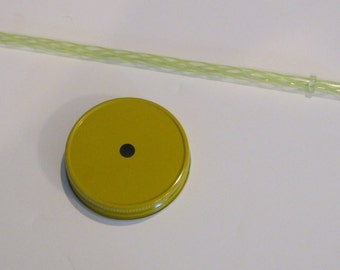 Colored Mason Jar metal lid with hole and plastic straw yellow, Regular mouth metal lids, Mason Jar Top, Reusable straw, fun mason top straw